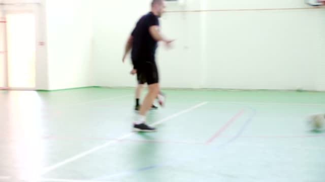men playing indoor soccer - soccer goal stock videos & royalty-free footage