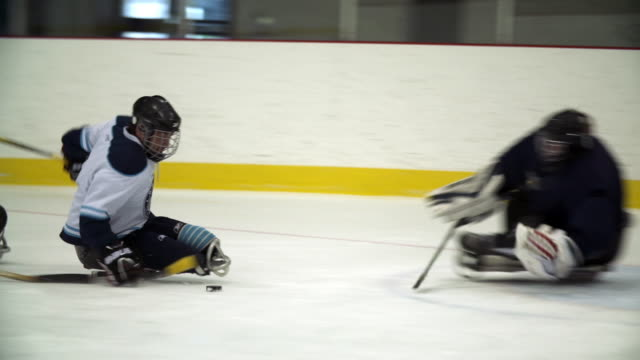Men playing sledge hockey (sled hockey)