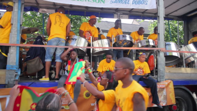 WS Men playing steel drums on parade float in Notting Hill Carnival / London, United Kingdom
