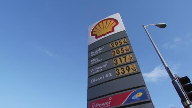 men pump gas at california gas station - ガス料金点の映像素材/bロール