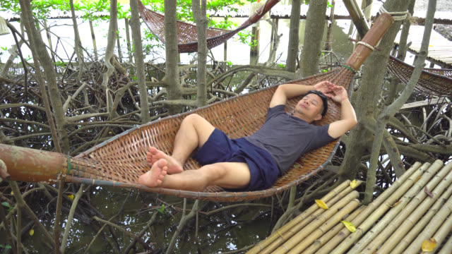men relax on the crib. - mangrove tree stock videos & royalty-free footage