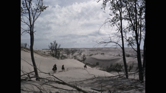 men riding horses on sand dunes, michigan, usa - arbeitstier stock-videos und b-roll-filmmaterial