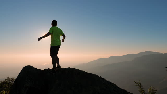 men running up to the mountain , trail running - hill stock videos & royalty-free footage