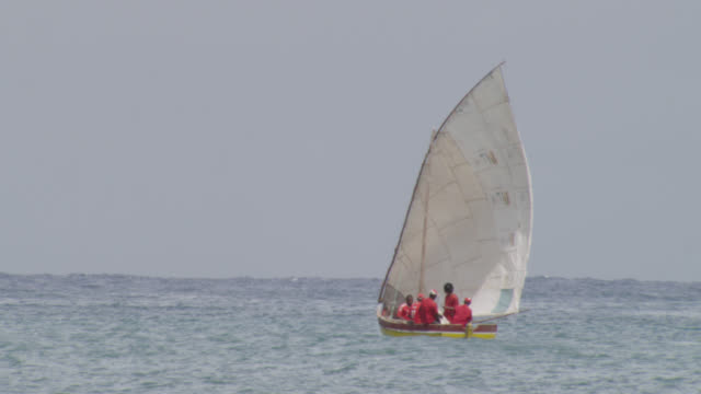 men sail traditional fishing boat, cape verde - adults only videos stock videos & royalty-free footage