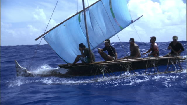 Men sailing outrigger canoe on Pacific Ocean, Anuta, Solomon Islands