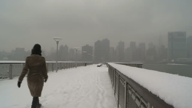 WS Men shoveling snow on sidewalks during winter / New York City, New York, USA