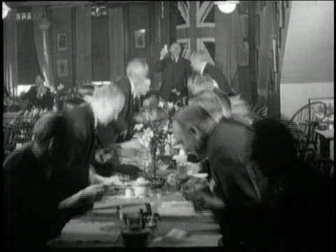 men stand up at a long table and toast the king. - king royal person stock videos & royalty-free footage