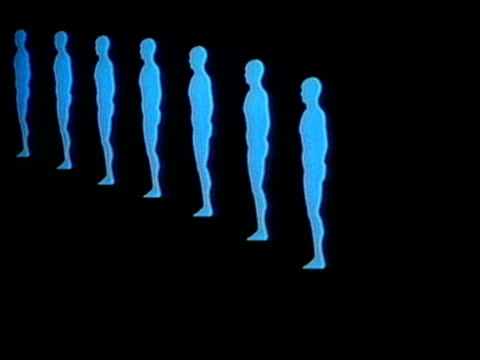 1980 ws animation men standing in a row / united states / audio - cloning stock videos & royalty-free footage