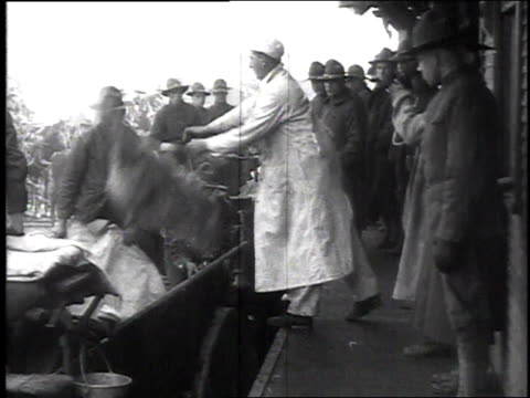 men tossing frozen sides of beef into open cart for transport / camp sherman chillicothe ohio united states - chillicothe stock videos & royalty-free footage