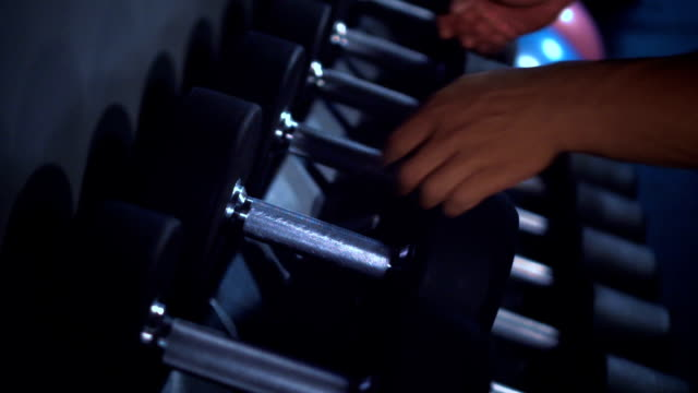 men try dumbbell,slow motion - dumbbell stock videos & royalty-free footage