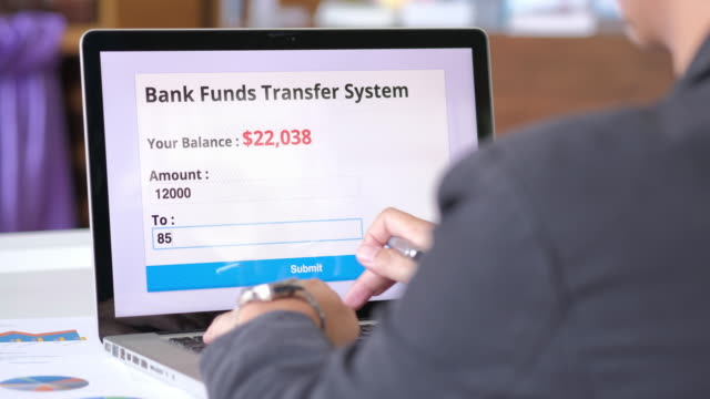 men using bank funds transfer system - online banking video stock e b–roll