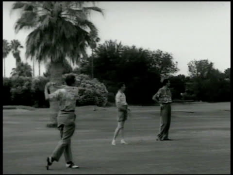 men walking on golf course w/ people in silhouette fg ws party men on green w/ male teeing off males on golf course male putting cu back of male's... - clubhouse stock videos & royalty-free footage