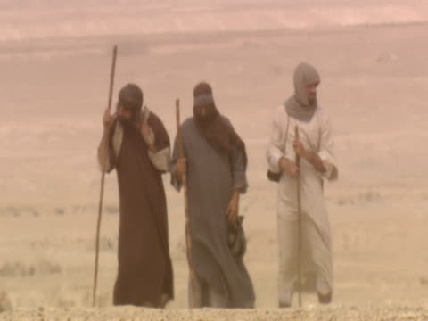 stockvideo's en b-roll-footage met men walking on road to emmaus - mid volwassen mannen
