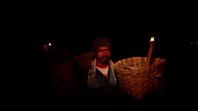 ms men walking to the sulfur mining at night / ijen, java, indonesia - sulphur stock videos & royalty-free footage
