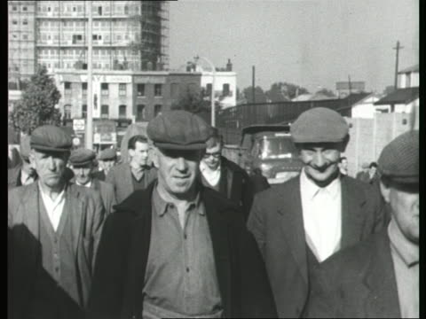 Men walking to work at the docks