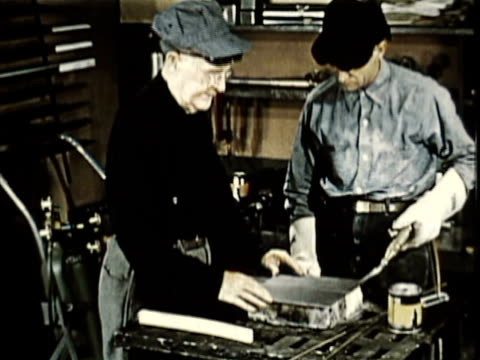 1965 montage ms cu men welding at workbench, other man watching / usa / audio - other stock videos & royalty-free footage