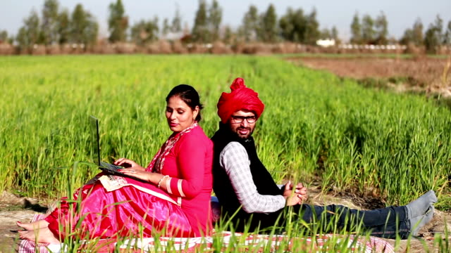 men & women portrait in the green field using laptop & smartphone - punjab india stock videos and b-roll footage