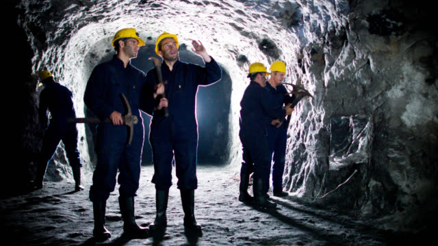 men working at a mine - mining natural resources stock videos and b-roll footage