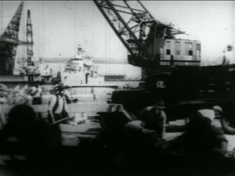 men working by crane + truck in wpa construction project / documentary - 1934 stock videos & royalty-free footage