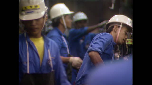 men working in car factory in malaysia; 1996 - 1996 stock videos & royalty-free footage