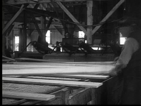 1927 b/w montage ms pan men working in lumberyard, ontario, canada - 1927 stock videos & royalty-free footage