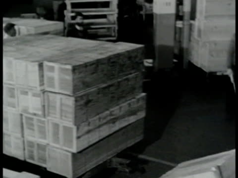 men working in warehouse moving boxes power cords motors w/ trailers forklifts. men painting 'x' on box side. forklifts moving boxes. men moving... - warehouse点の映像素材/bロール