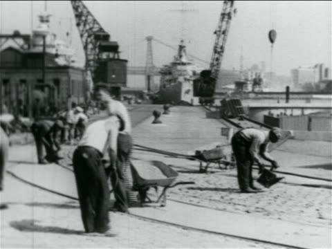 men working in wpa construction project by shipyard / documentary - wpa stock videos & royalty-free footage
