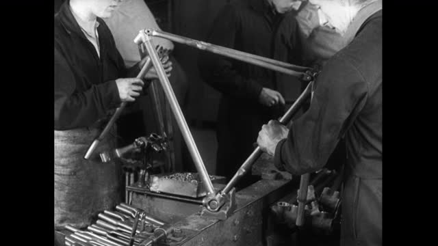 men working on bicyclce production line in the uk; 1952 - production line worker stock videos & royalty-free footage