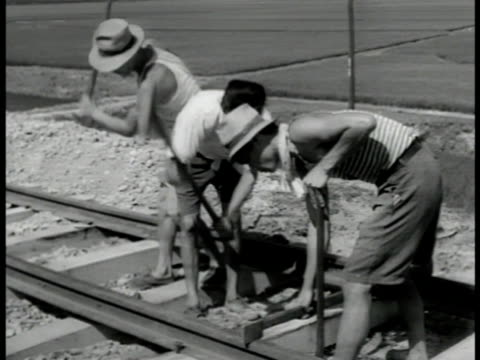 men working on track site. workers driving spikes into railroad ties. ci spike being hammered into place by track. men working on tracks w/ train... - rail transportation stock videos & royalty-free footage