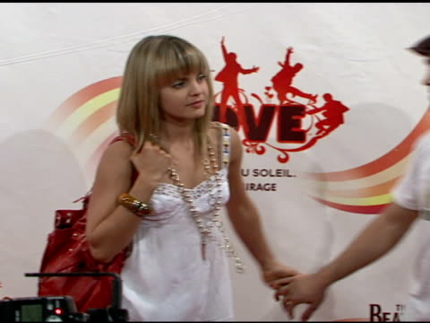 mena suvari and guest at the 'love': cirque du soleil celebratation of the musical legacy of the beatles at the mirage hotel and casino in las vegas,... - mena suvari stock videos & royalty-free footage