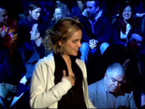 mena suvari wearing y-3 at the olympus fashion week fall 2006 y-3 backstage and runway at roseland ballroom in new york, new york on february 8, 2006. - mena suvari stock videos & royalty-free footage