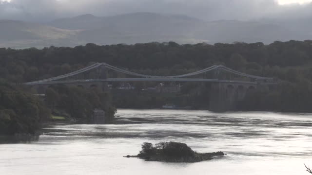 menai bridge in wales - suspension bridge stock videos & royalty-free footage