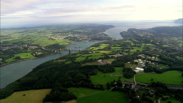 Menai Strait And Bridges  - Aerial View - Wales, Anglesey, Menai Bridge, United Kingdom