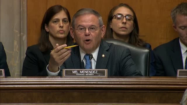Menendez New Jersey Senator Bob Menendez asks Secretary of State Mike Pompeo at a Senate Foreign Relations Committee hearing if President Donald...