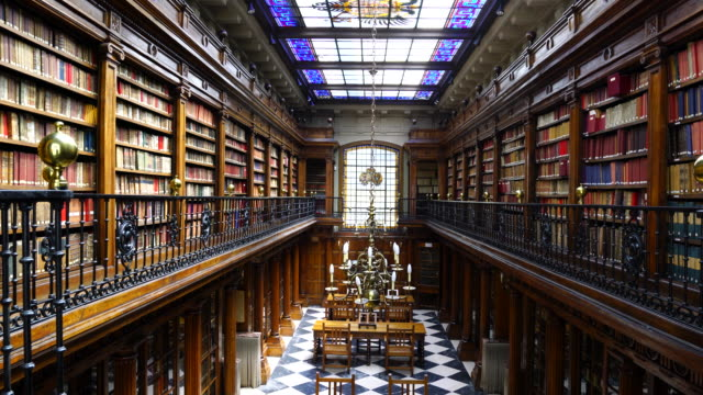 menendez pelayo library in santander - bookshelf stock videos & royalty-free footage