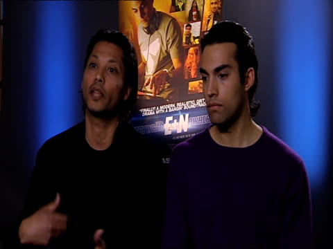 vidéos et rushes de menhaj huda and james floyd on how the actors personal experiences influenced the script at the everywhere and nowhere interviews at london england. - persuasion