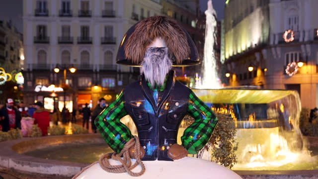 menina figure with beard designed and sponsored by sephorarte and designed by antonio azzto stands at the iconic plaza del sol, in the city center,... - spotted stock videos & royalty-free footage