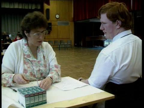 meningitis vaccination programme declared success; lib south yorkshire: dinnington comprehensive school: schoolgirl receiving vaccination woman... - sleeve stock videos & royalty-free footage