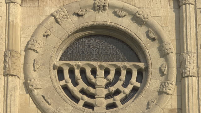 """menorah - window at """"alte synagoge"""" - temple building stock videos & royalty-free footage"""