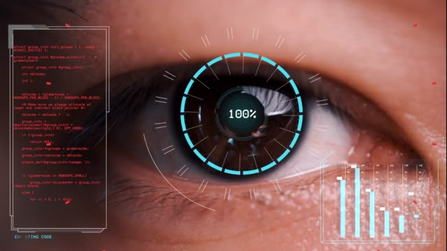 men's eyes are being scanned, computer graphic motion effect - identity stock videos & royalty-free footage