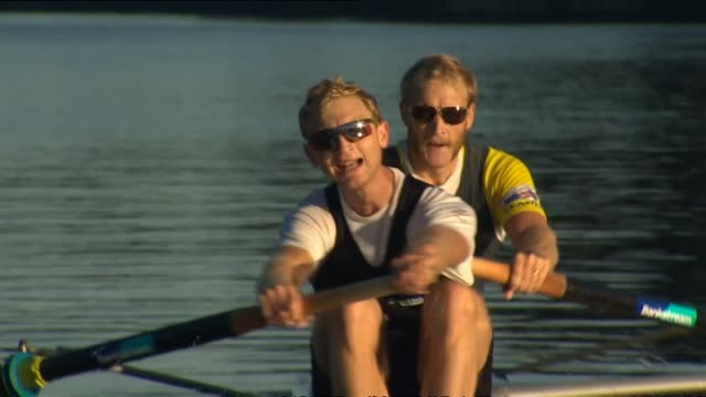 men's pair rowers hamish bond and eric murray training on lake karapiro - 2013 stock videos & royalty-free footage