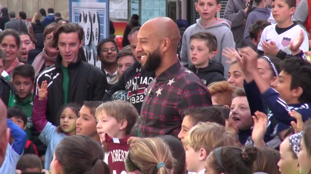 US Men's soccer player Tim Howard at 'Good Morning America' show signs for fans in Celebrity Sightings in New York