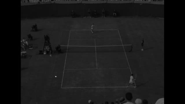 men's tennis doubles match for davis cup / men's singles match / ken rosewall and victor seixas pose with davis cup trophy and shake hands / rosewall... - davis cup stock videos & royalty-free footage