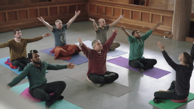 men's yoga session - exercise equipment stock videos & royalty-free footage