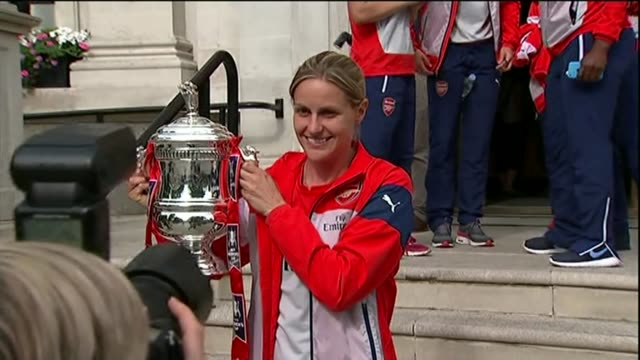 Former footballers talk about their issues with depression T14071451 / TX ENGLAND London Islington Town Hall EXT Kelly Smith posing with Women's FA...