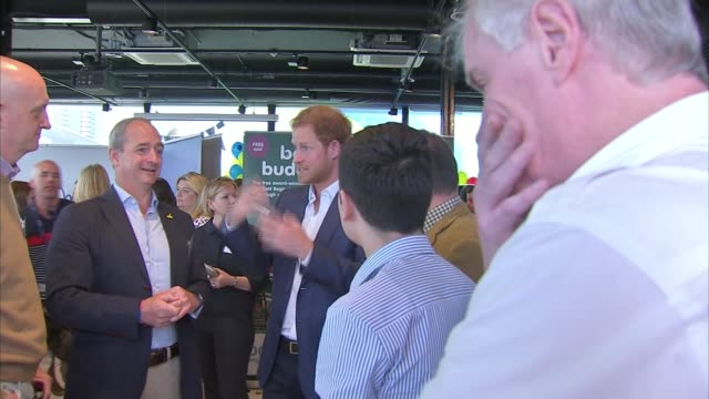 duke and duchess of cambridge and prince harry help launch heads together project; queen elizabeth olympic park: catherine, duchess of cambridge sits... - ニナ・ホサイン点の映像素材/bロール