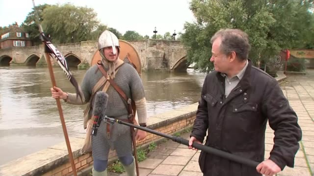 man retracing the final journey of king harold to highlight suicivide prevention; england: cambridgeshire: ext **kirkbride interview partly overlaid... - traditional clothing stock videos & royalty-free footage