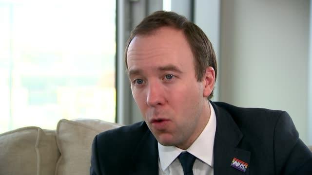 Matt Hancock promises extra support for NHS staff ENGLAND London INT Matt Hancock MP interview SOT