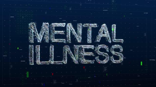 vídeos y material grabado en eventos de stock de texto de enfermedad mental palabra clave hecha de partículas animadas digitales - refugiarse en un lugar concepto