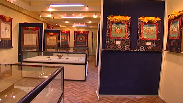 men-tsee-khang, dharamsala. view of paintings and glass cases on display at a medical museum in dharamsala. - china east asia stock videos & royalty-free footage